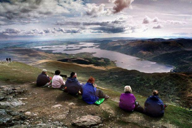 POPULAR SUMMIT: Walkers enjoy the view from Ben Lomond, but the area's popularity has led to p