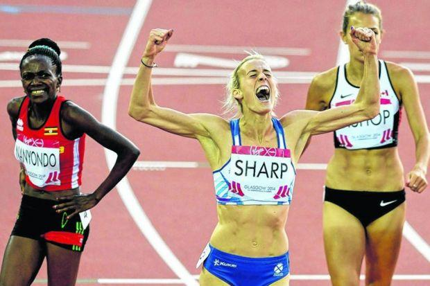 Lynsey Sharp reacts after winning silver in last night's 800 metres at Hampden Park. Picture: Nick Ponty