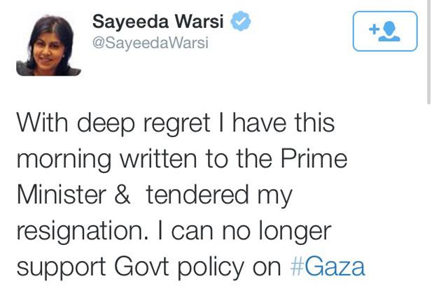 Foreign office minister Warsi resigns over UK Government's Gaza policy