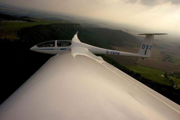 The sky's the limit as a glider flies above the North Yorkshire Moors National Park. Photograph: Matthew Lloyd/Getty
