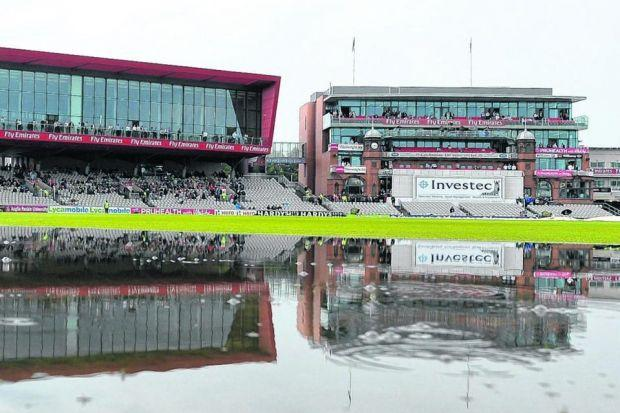 England were thwarted by the sodden outfield at Emirates Old Trafford. Picture: PA