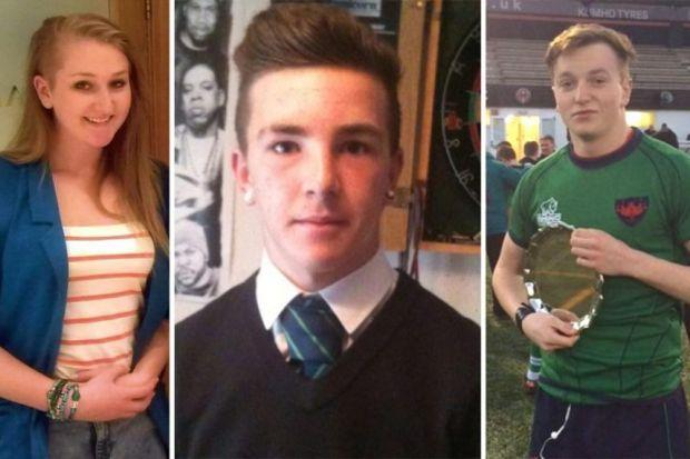VICTIMS: Jenna Barbour, 18, David Armstrong, 15, and Josh Stewart, 16.