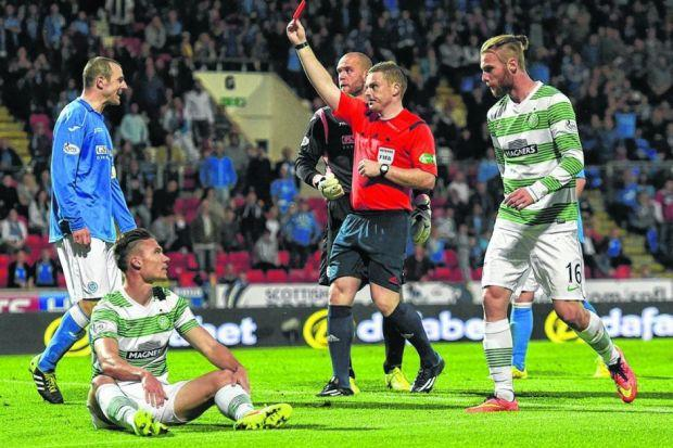 ave Mackay is sent off for St Johnstone after Derk Boerrigter tumbles theatrically in the box; Nir Biton converted the penalty. Picture: SNS