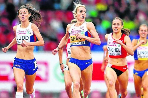 Lynsey Sharp glances up to the big screens in the stadium as she comfortably crosses the finish line. Picture: Getty Sport