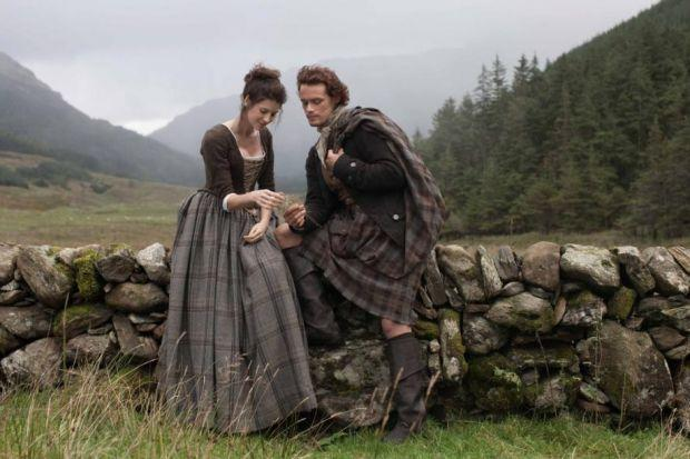The cult TV series was filmed in Scottish locations and featured Irish actress Caitriona Balfe, below