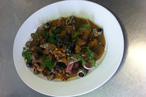 A Snail's Pace: pork fillets with snails and girolles