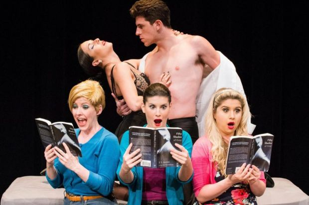 ENTHRALLED: The ladies of the book group follow the exciting relationship of Anastasia and Christian in 50 Shades! The Musical - The Original Parody, which is headed for Off-Broadway.
