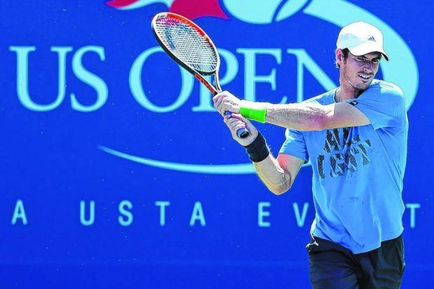 Andy Murray practises at the USTA Billie Jean King National Tennis Center in New York. Picture: Julian Finney/Getty Images