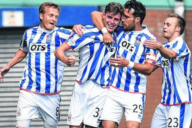 Kilmarnock's Robbie Muirhead (No.33) and team-mates celebrate his ninth-minute goal. Picture: SNS