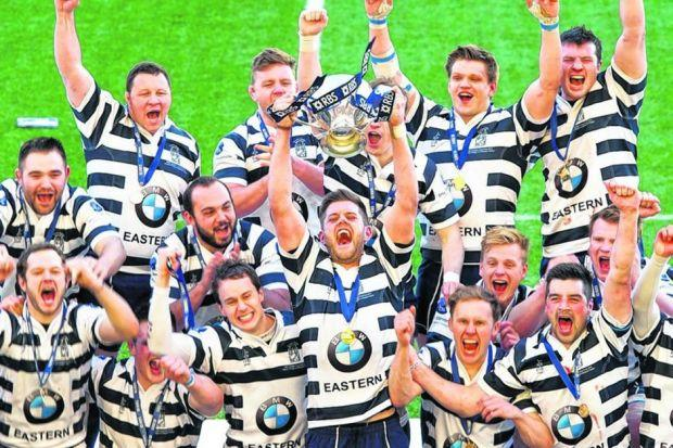 Heriot's celebrate after winning the RBS Cup at Broadwood in April. Picture: SNS Group/SRU/Gary Hutchison