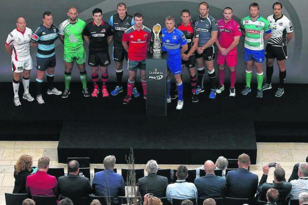 The captains of the Guinness PRO12 teams pose with the trophy to launch the new season at the Diageo Headquarters in Park Royal, London