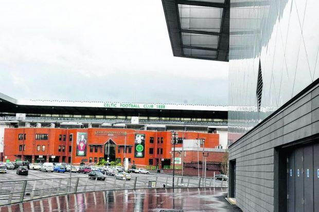 Celtic Park and the Emirates Arena stand in close proximity in the East End of Glasgow. Picture: Jeff Holmes/SNS Group
