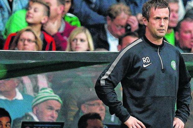 Ronny Deila watches as his Celtic side struggle to compete against Maribor in their Champions League play-off second leg on Tuesday. Picture: SNS