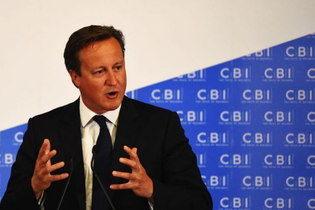 prime time: David Cameron makes his point at the CBI dinner, but was then criticised over his EU referendum plan. Picture: Getty