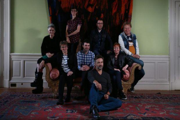 Denise Mina and the team of writers and illustrators behind IDP: 2043 gather in Edinburgh. Photograph: Stewart Attwood
