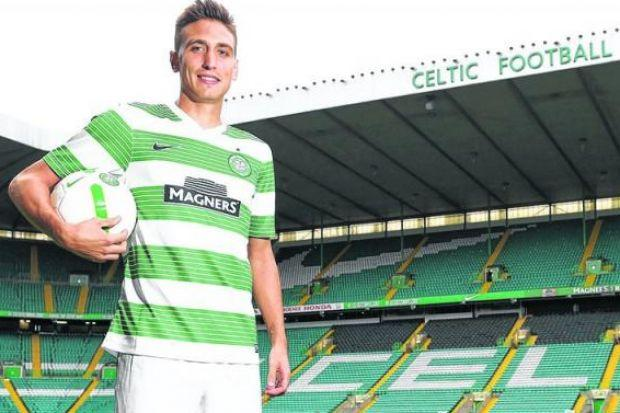 Stefan Scepovic's father scored the goal which knocked Celtic out of the UEFA Cup in 1989, now he will seek to make amends by contributing the goals which will help him put down roots in Glasgow. Picture: SNS