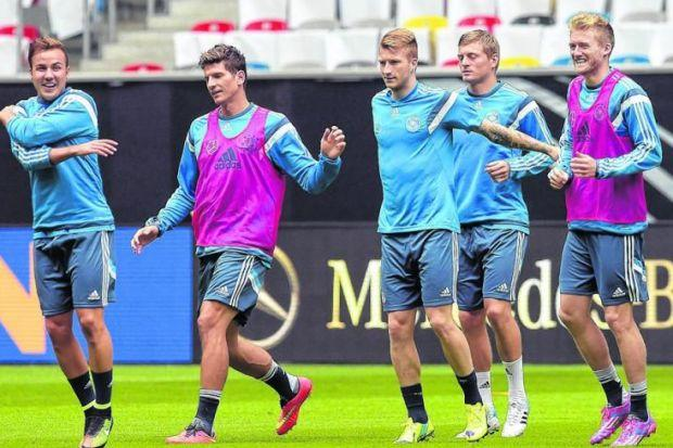 The German squad contains 18 world champions but manager Joachim Loew has warned all of his players that Scotland will not be defeated easily in Dortmund on Sunday. Picture: EPA