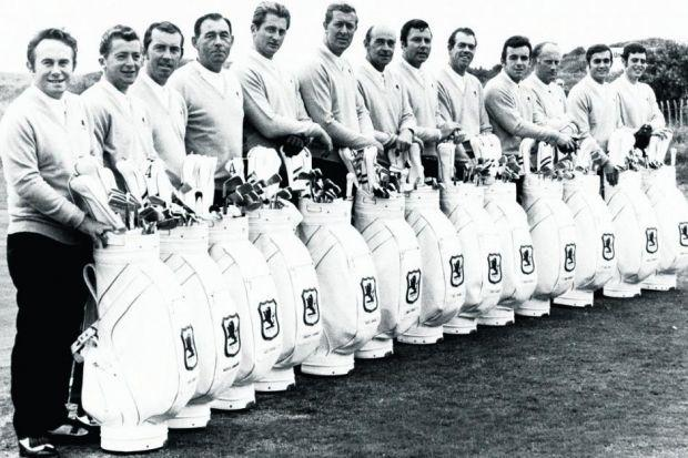 The 1969 British Ryder Cup golf team, left to right: Brian Huggett, Maurice Bembridge, Alex Caygill, Christy O'Connor, Brian Barnes, Bernard Hunt, Eric Brown (non-playing captain),  Peter Alliss, Peter Butler, Tony Jacklin, Neil Coles, Peter Townsend a