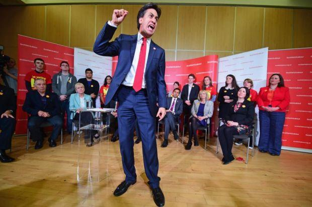 SPEECH: Ed Miliband yesterday told an audience in Blantyre, South Lanarkshire that a Labour government was coming. Picture: Getty