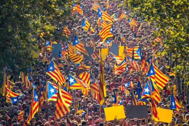 POPULAR UPRISING: Thousands of Catalans took to the streets to demand the Madrid government grants them the right to hold an independence referendum. Pictures: Getty