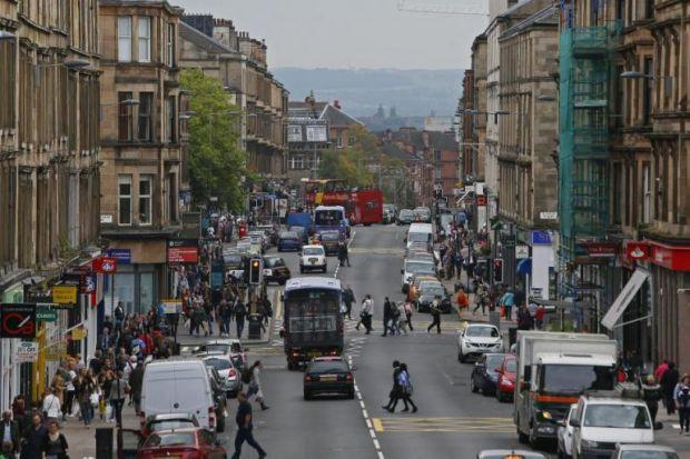 BEATING HEART: Byres Road is one of the main arteries of Glasgow Kelvin, a street lined with shops, bars and restaurants and athrong with locals                young and old. Pictures: Colin Mearns