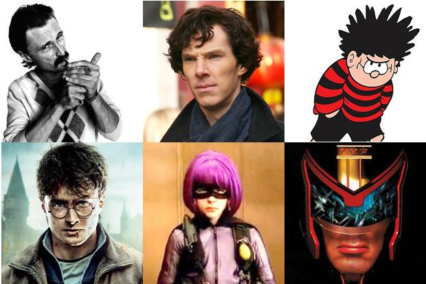 Sherlock Holmes, Begbie, Dennis the Menace, Hit Girl, Harry Potter and Judge Dredd are among the characters competing for the nation's favourite title