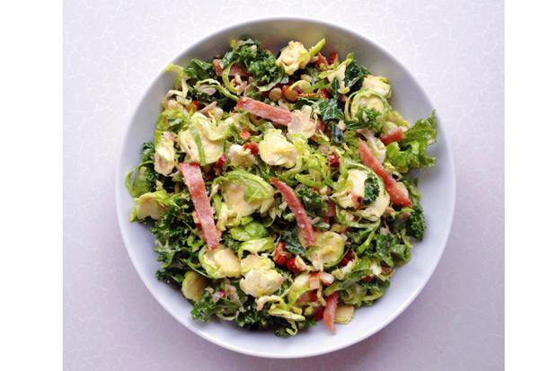 Paleo kale, bacon and Brussels sprouts salad
