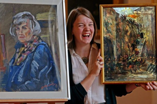 in the frame: Painting specialist Carly Shearer with a self-portrait of Wendy Wood and, right, her depiction of herself storming Stirling Castle. Picture: Gordon Terris