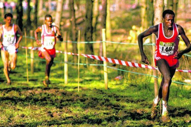 John Ngugi of Kenya leads during the men's race at the IAAF World Cross Country Championships in Stavanger, Norway. Ngugi won the gold medal. Picture: Gray Mortimore/Allsport