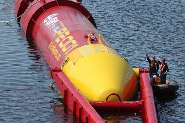 power: The Pelamis wave turbine was launched in Leith in 2010.
