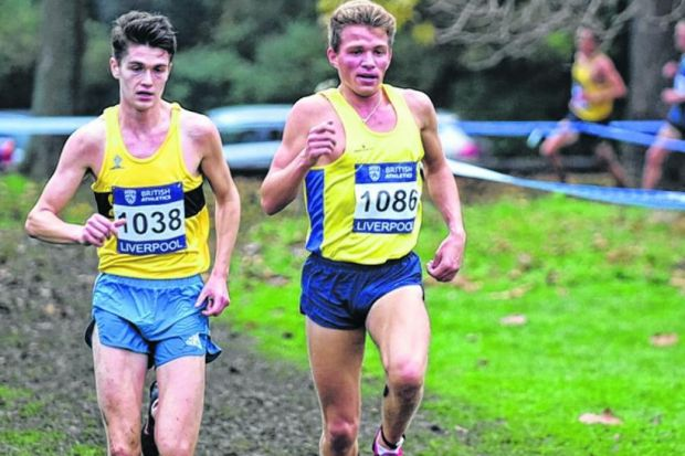 Andrew Butchart, right, races alongside Callum Hawkins. Picture:  Gus Oakley