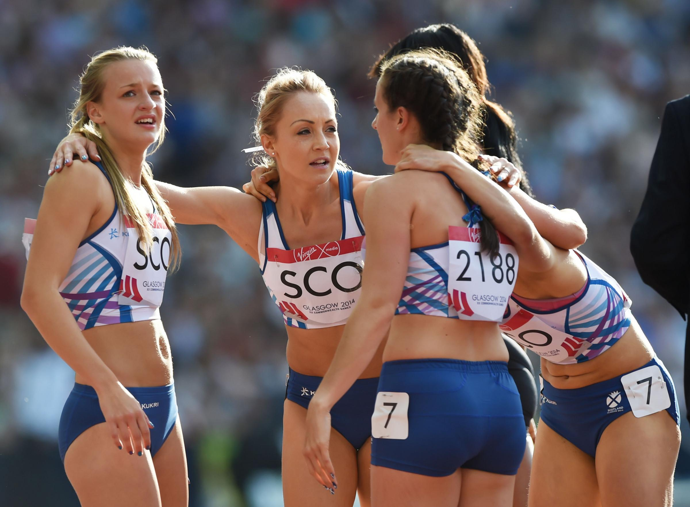 Kirsten McAslan, left, competed at the Glasgow 2014 Commonwealth Games in the 4x400m relay. Picture: SNS