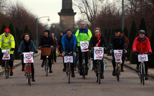 Cyclists from Go Bike gather in Glasgow Green to lend support to a campaign to make Glasgow a 20mph city. The campaign is headed by Bob Downie (pictured centre in blue jacket)