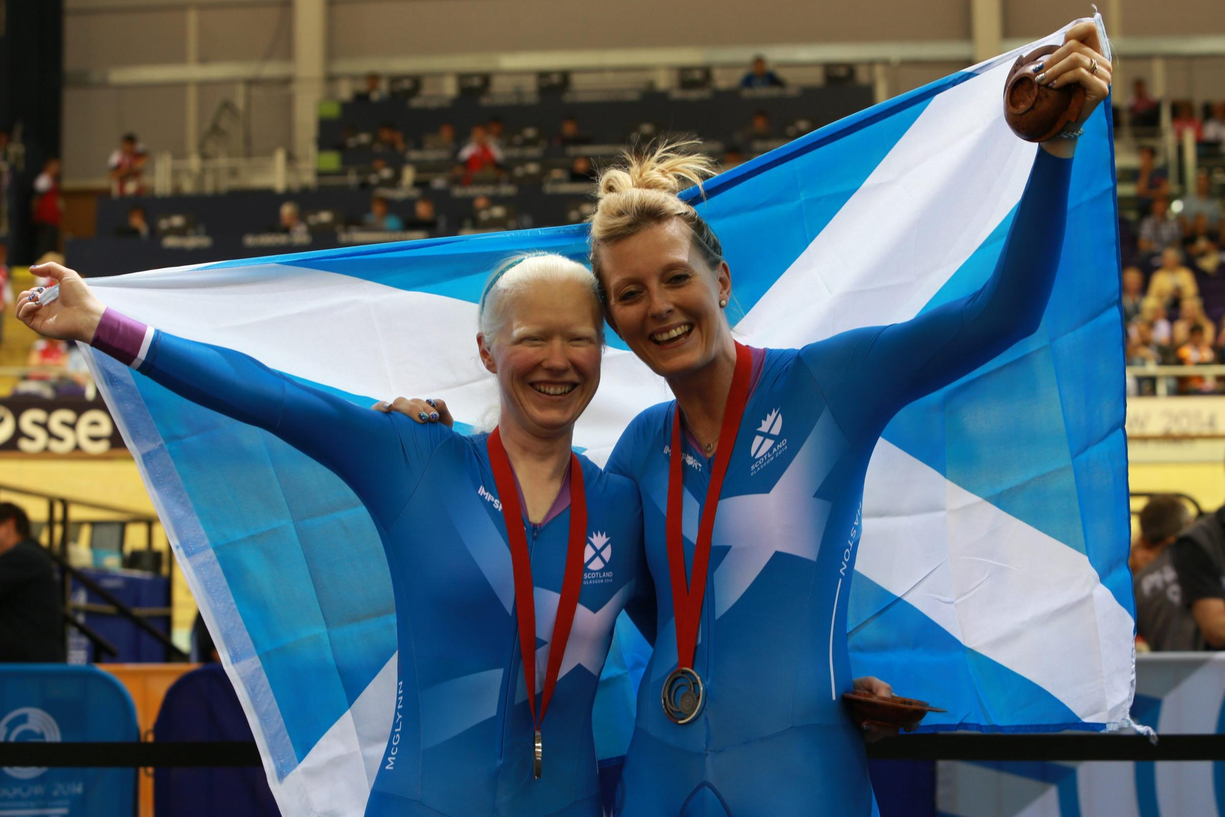 Scottish cyclists Aileen McGlynn and Louise Haston who took double silver at the 2014 Commonwealth Games in Glasgow. Photograph: Stewart Attwood