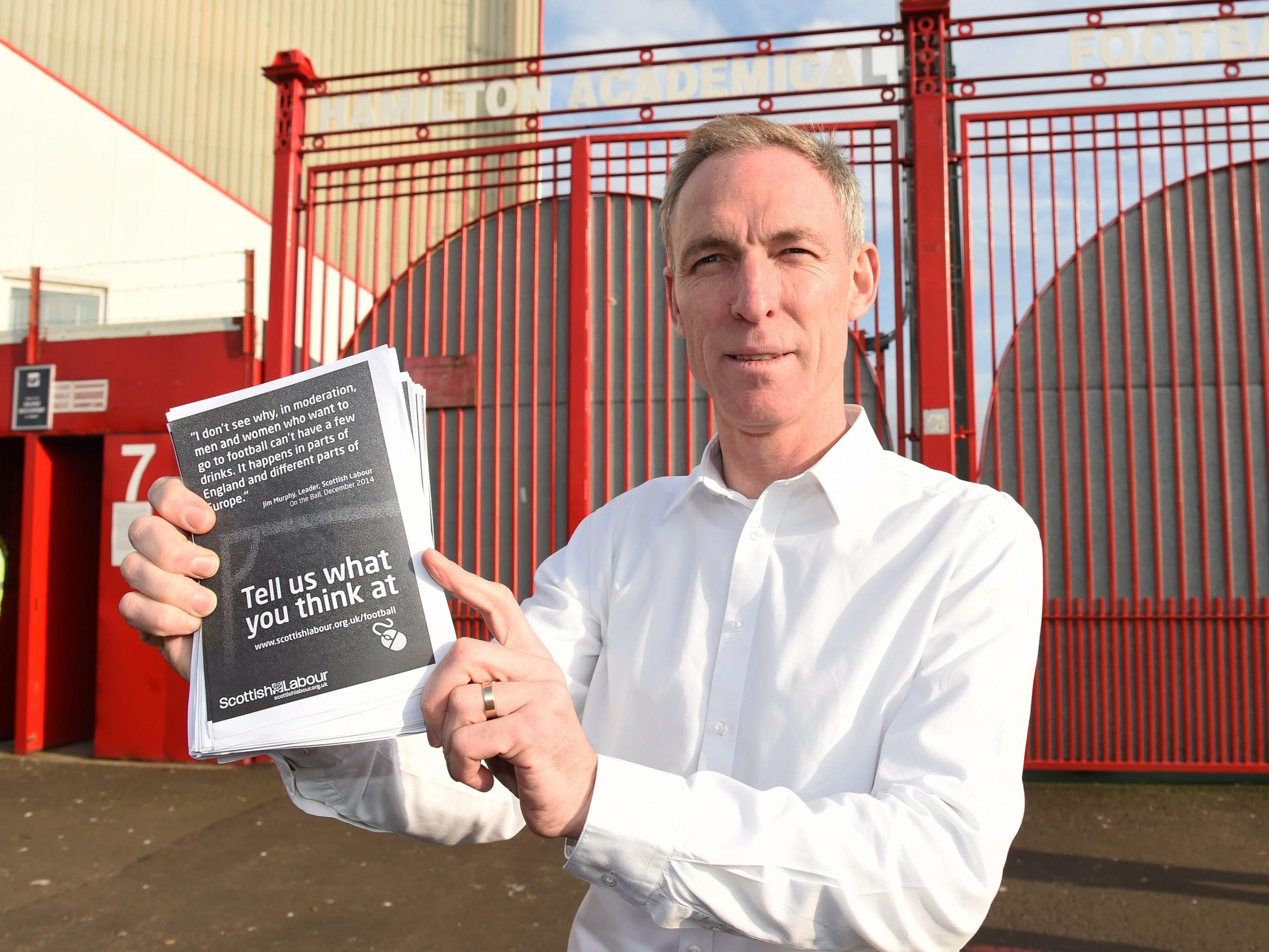 Jim Murphy wants to end the 35-year ban on selling alcohol at football games