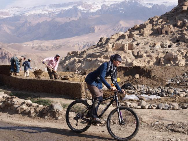 Shannon Galpin on her mountain bike in Afghanistan Picture: Deni Bechard