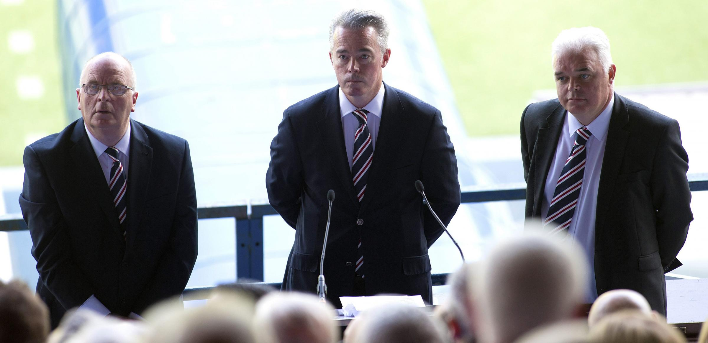 Rangers directors John Gilligan, Paul Murray and company secretary James Blair during a general meeting of shareholders last month