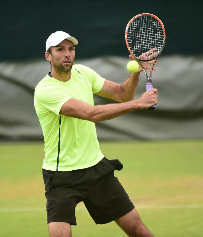 Croatia's Ivo Karlovic during practice at the Wimbledon yesterday. Picture: PA