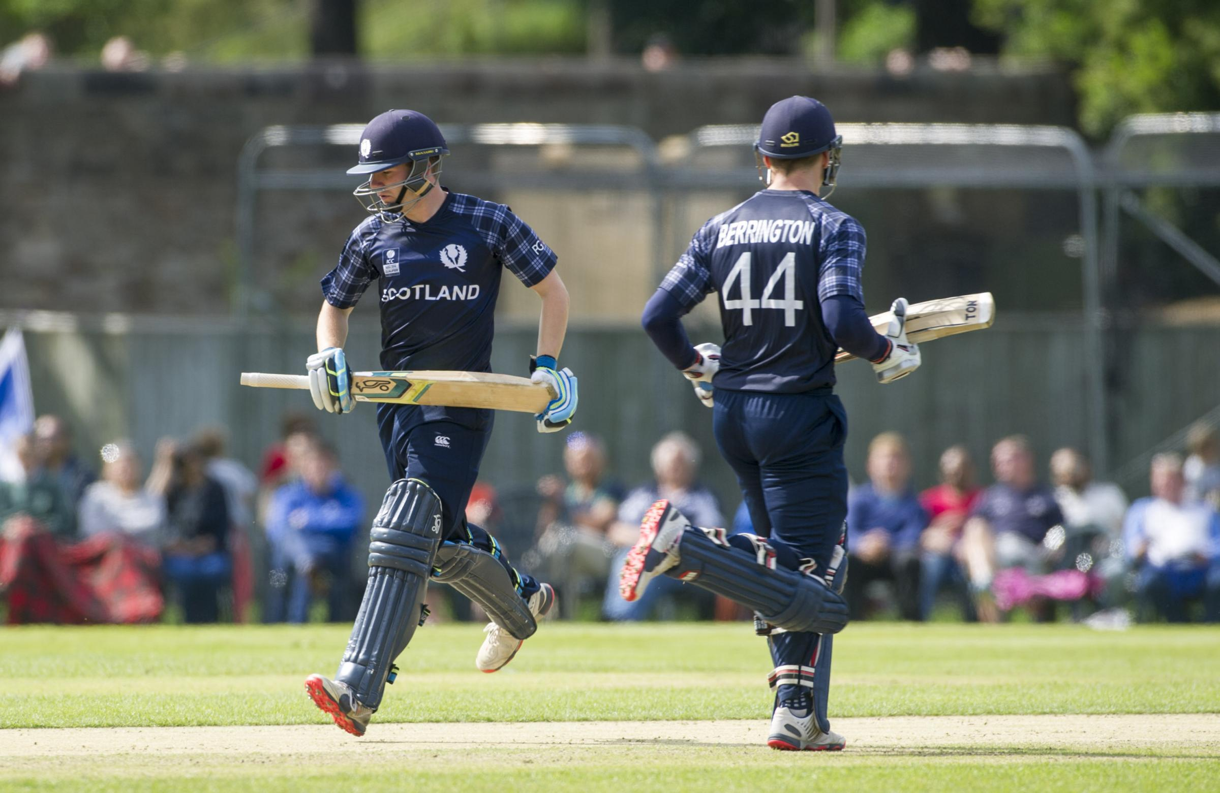 Scotland's Matthew Cross and Richie Berrington shared a 51-run partnership to bring up the win. Picture: Donald MacLeod