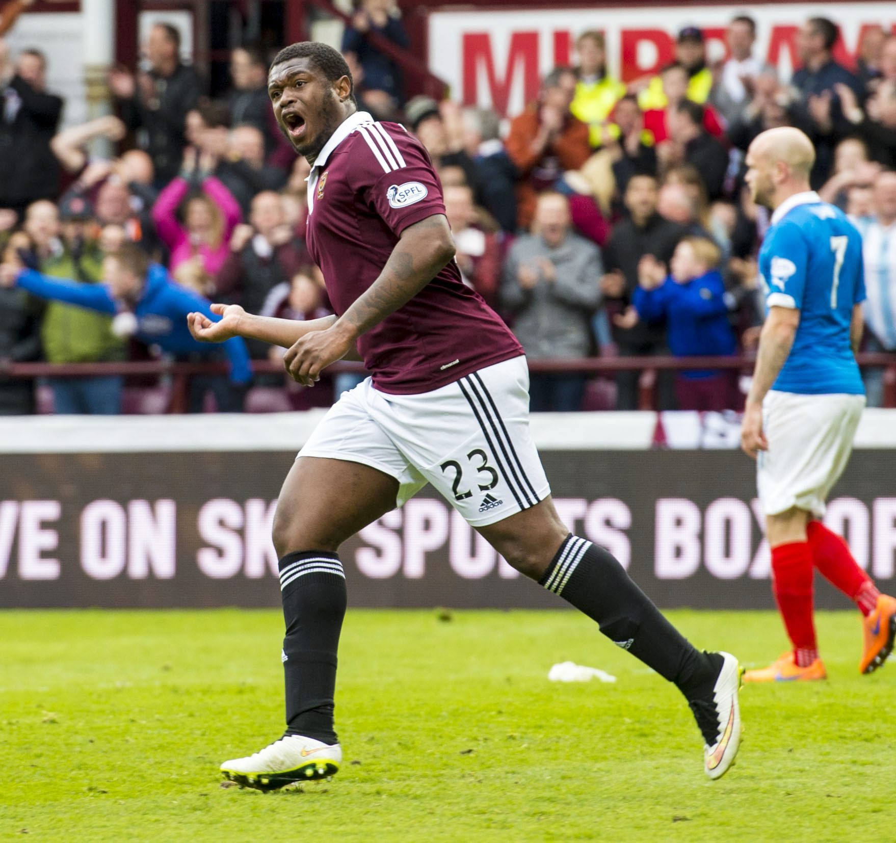 02/05/15 SCOTTISH CHAMPIONSHIP.HEARTS v RANGERS (2-2).TYNECASTLE - EDINBURGH.Hearts' Genero Zeefuik celebrates after scoring his side's first goal of the game. (24993478)