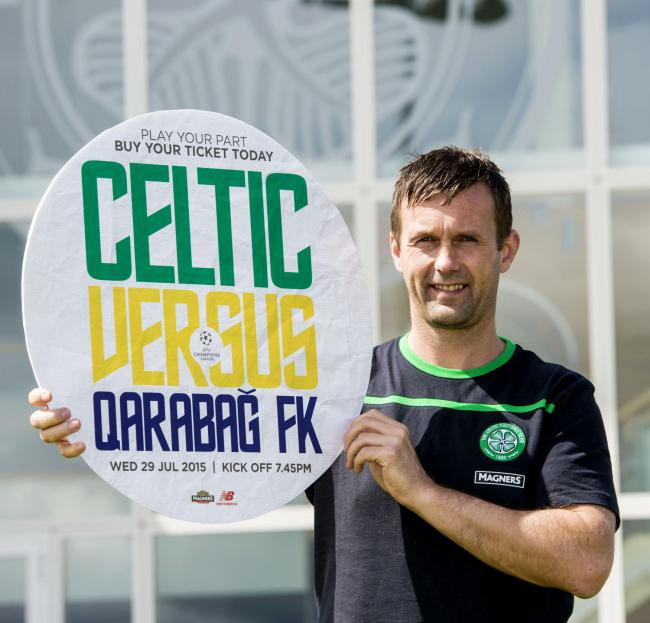 Celtic manager Ronny Deila helps promote his side's home tie against Qarabag