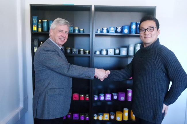 Jeremy Lane, sales director of Shearer Candles with a representative from new South Korean partner La Floma.