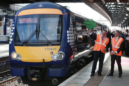 HeraldScotland: The New Abellio ScotRail franchise was launched by Abellio chief executive Jeff Hoogesteger and Transport Minister Derek Mackay MSP in April