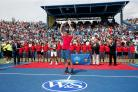 CINCINNATI, OH - AUGUST 23:  Roger Federer of Switzerland holds up the trophy after defeating Novak Djokovic of Serbia to win the mens singles final at the Western & Southern Open at the Linder Family Tennis Center on August 23, 2015 in Cincinnati, Ohio.