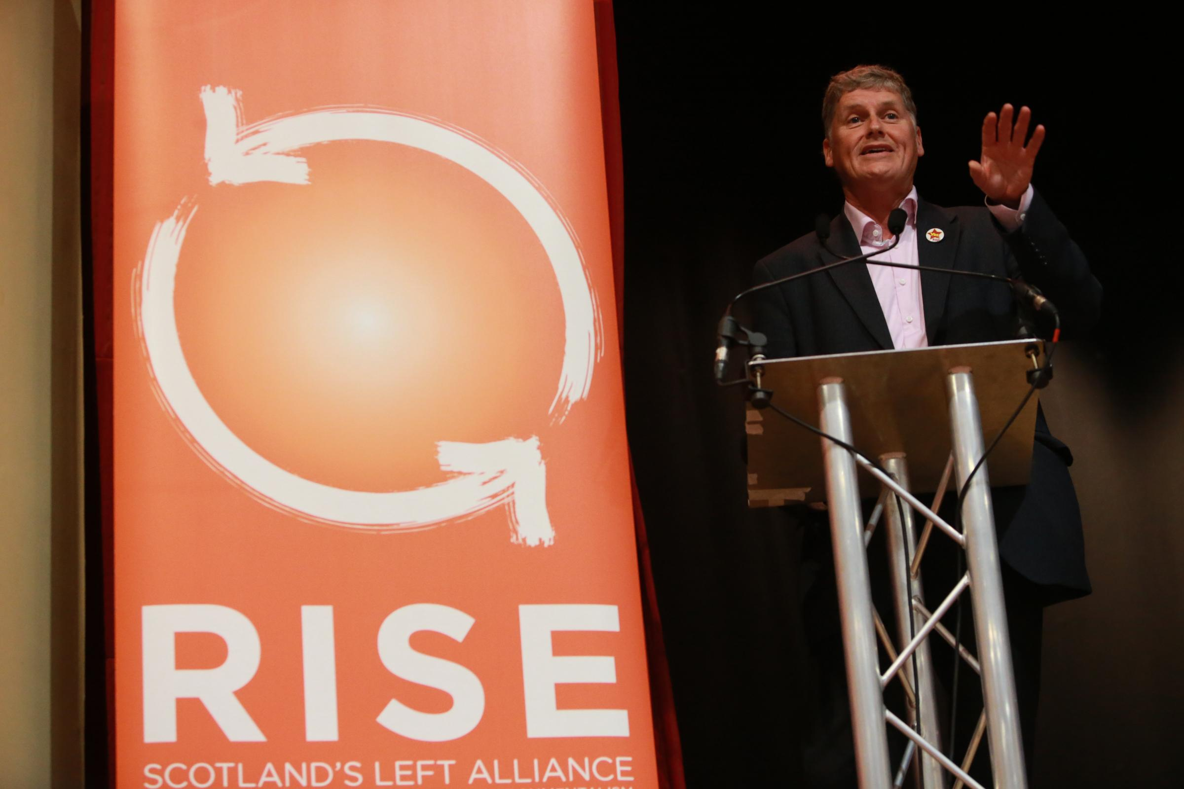 RISE 1 SA :  Launch of RISE, Scotland's Left Alliance at the Glasgow Marriott Hotell, Saturday 29th August 2015.  Colin Fox (SSP National Co-Spokesperson)  People gather at the Marriott Hotel in Glasgow as speakers Alan Bissett (Author), Jean Urquhart MSP