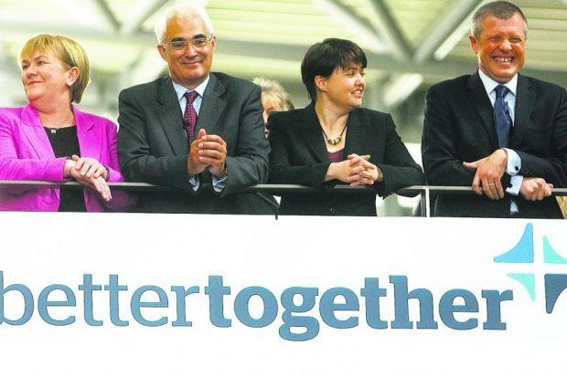 HeraldScotland: United front: From left, Johann Lamont, Alistair Darling, Ruth Davidson and Willie Rennie at the Better Together campaign launch