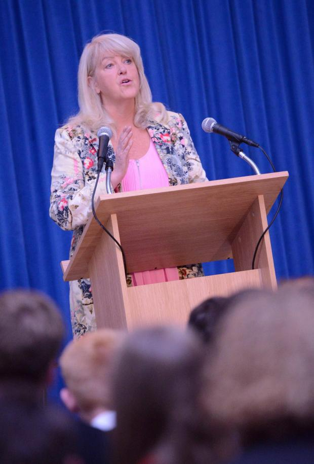 HeraldScotland: Queen Anne High School Peace Day conference; pictured Lesley Riddoch. (39273554)