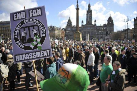 HeraldScotland: Fans Against Criminalisation hold a protest in Glasgow earlier this yearPicture: Jamie Simpson
