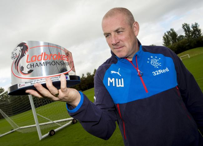 Rangers' manager Mark Warburton is delighted to have been awarded Championship manager of the month
