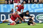 Nehe Milner-Skudder secures the bonus point with his second try for the All Blacks against Tonga